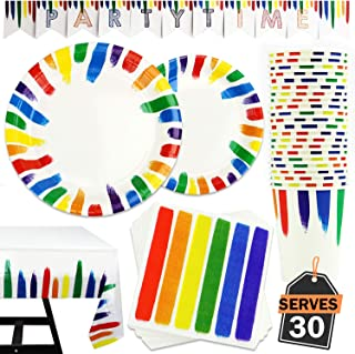 122 Piece Rainbow Party Set Including Banner, Plates, Cups, Napkins and Tablecloth, Serves 30