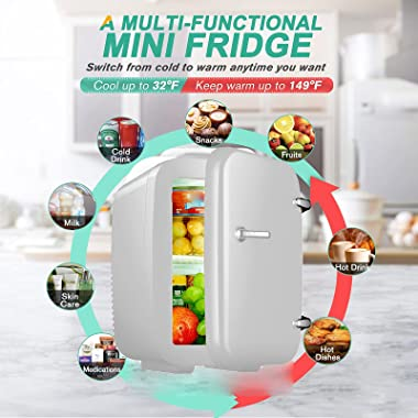Mini Fridge, 4 Liter/6 Can Portable Cooler and Warmer Personal Refrigerator for Skin Care Cosmetics Food, Small Freezer Great