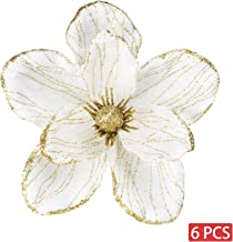 KI Store Christmas Poinsettia Artificial Magnolia Flower Ornaments Picks Stems for Christmas Tree Decorations Pack of 6 for Xmas Tree Wedding Centerpiece (White)