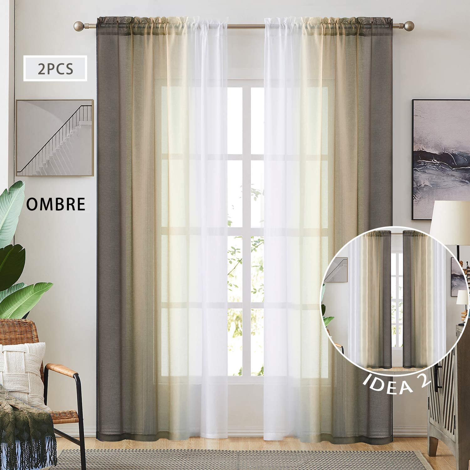 New products, world's highest quality popular! Ombre Faux Linen Sheer Curtains Direct sale of manufacturer for Bedroom Rod Living Room Pock