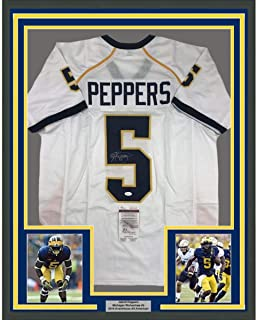 Framed Autographed/Signed Jabrill Peppers 33x42 Michigan White College Football Jersey JSA COA
