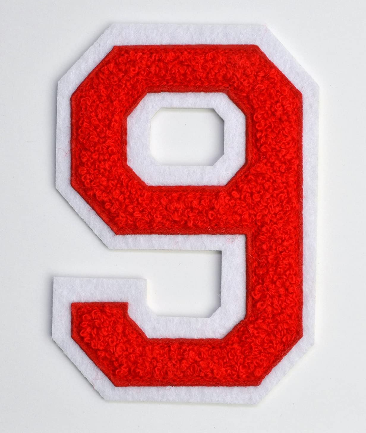 Varsity Number Patches - Red Embroidered Chenille Letterman Patch - 4 1/2 inch Iron-On Numbers (Red, Number 9 Patch)