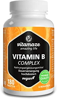 Vitamaze - amazing life Vitamin B Komplex hochdosiert & vegan, 180 Tabletten für 6 Monate, B1, B2, B3, B5, B6, B7, B9, B12 Vitamine in einer Tablette, Natürliche Nahrungsergänzung ohne Zusatzstoffe, Made in Germany