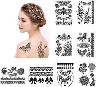 Large Black Temporary Tattoos Fake Henna Inspired Body Jewerly for Women Girls, 8 Sheets Sexy Body Art Stickers for Halloween Costume, VIWIEU Waterproof Body Makeup Accessories for Wedding