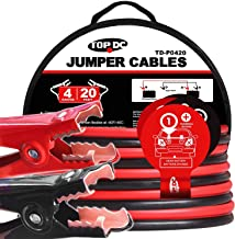 TOPDC Jumper Cables 4 Gauge 20 Feet Heavy Duty Booster Cables with Carry Bag (Or Box) (4AWG x 20Ft)