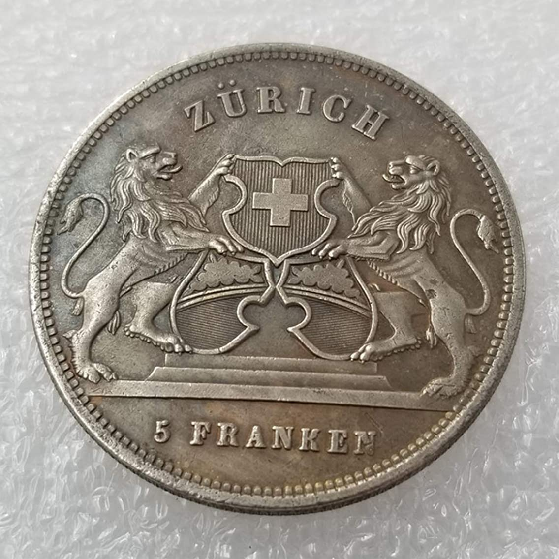 GreatSSCoin 1859 Swiss Franc Old Coins - 5 Francs Old Coin-Brilliant Uncirculated Commemorative Coin-Great Switzerland Coins - Discover History of Coins Great Uncirculated Coin
