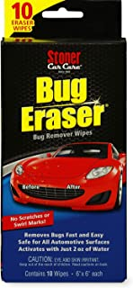 Stoner Car Care 95401 Bug Eraser Car-Cleaning Wipes, Removes Bugs Fast and Easy, Safe for All Automotive Surfaces, 10 Eraser Wipes, Set of 1