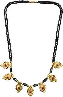Archi Collection Ethnic Handmade Traditional Black Mani (Beads) Maharashtrian Thusi Necklace Mangalsutra for Women