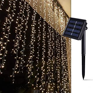 Solar Curtain Lights for Bedroom Parties Wedding,6.6ft x 6.6ft,8 Mode,200 LED Wall Window Backdrop Decor String Lights for...