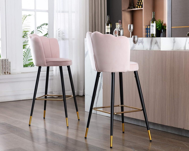 Buy CIMOTA Bar Stools Set of 9 Velvet Modern Kitchen Barstools ...