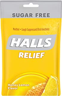 Halls Mentho-Lyptus Sugar Free Drops, Honey-Lemon, 25 ct