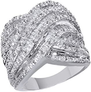 925 Sterling Silver Natural Diamond Engagement Wedding Ring (1 Ct)