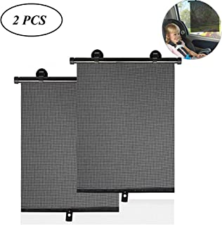 EIGIIS Car Side Window Roller Sun Shade Retractable Windshield Sunshield Front Rear Side Sun Shade Shield Blocks Harmful UV Rays and Offers Effective Sun Glare Protection (Black) - coolthings.us