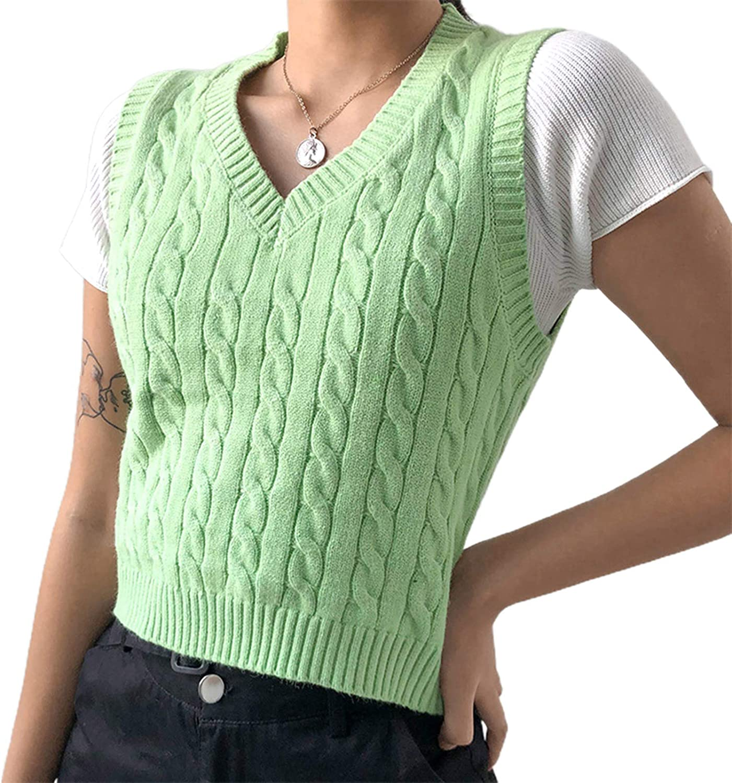 Women Sleeveless Knitted Sweater Vest Streetwear Preppy Style Knitwear V Neck Argyle Plaid Tank Top