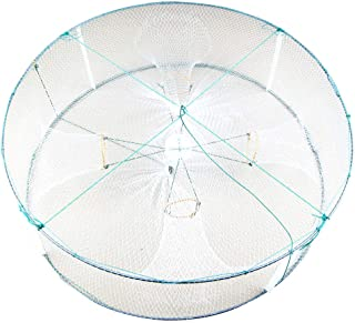 Quaanti Fish Net,4/5 Holes Foldable Fish Shrimp Basket Fishing Crab Bait Trap Collapsible Portable Crawfish Cage Casting Net Large Fish Shrimp Minnow Drift Crab Baits Cast Mesh Trap Cage (A/4 Holes)
