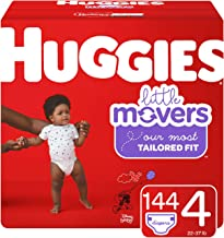 Huggies Little Movers Diapers, Size 4 (22-37 lb.), 144 Ct, One Month Supply (Packaging May Vary)