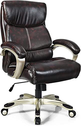 wholesale Giantex Big and Tall 400 LBS High Back Leather Office Chair, Ergonomic Adjustable discount Desk Chair w/Padded Armrest, Heavy Duty Rolling wholesale Swivel Executive Chair for Home Office Meeting Room, Brown outlet sale