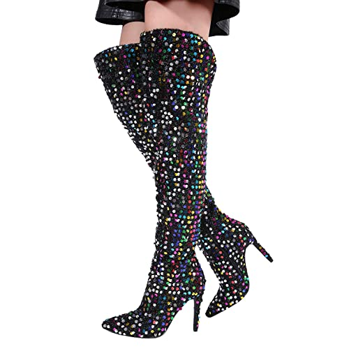 Stupmary Women Pointed Toe Sparkle Sequins Over The Knee Boots Winter  Stilleo Heels Thigh High Bootie de025b0e6236