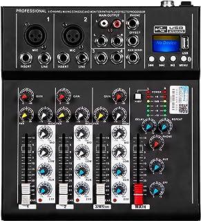 Depusheng HT4 Profesional 4 canales USB Jack Mezclador de audio portátil Bluetooth Live Studio Audio DJ Sonido Consola de mezcla