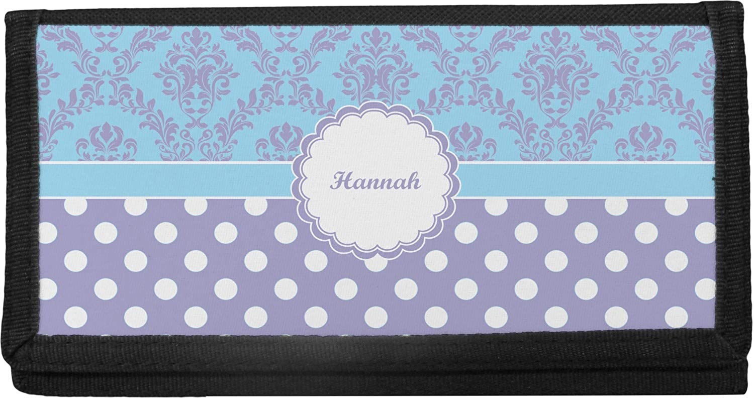 Purple Damask Dots Canvas Personalized Checkbook Be super welcome Columbus Mall Cover