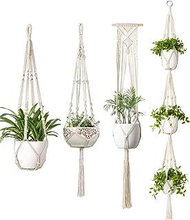 Mkono Macrame Plant Hangers 4 Different Style Indoor Hanging Planter Basket Flower Pots Holder Stand Boho Home Decor