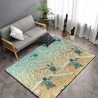 Memory Foam Kitchen Rug for Hotel Playroom Dorm Room, Anti-Skid Backing Floor Mat Doormats Comfort Throw Rugs Carpet, Anti Fatigue, Turtles On The Beach, 60 x 39 Inch