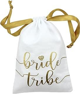 "10pc Bride Tribe Drawstring Bags w/Satin Ribbon, 7x5"" - Cotton Pouch for Bridesmaids, Bachelorette, Bridal Party, Bridal Shower, Wedding Favor, Survival Kit, Hangover Kit (10pc Pack, White & Gold)"