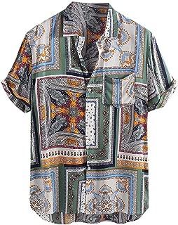 Firally - Camisa de Hombre, Estilo Vintage, étnico, Estampada, de Manga Corta, para Verano, Suave y Transpirable