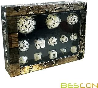 Bescon Complete Polyhedral Dice Set 13pcs D3-D100, 100 Sides Dice Set Opaque White