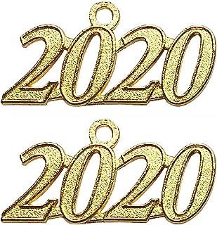 Czorange 2020 Year Signet Gold Color Charm for Graduation Tassel Grad Days 2 Pack