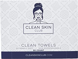 Clean Skin Club - Clean Towels XL | World's 1ST Biodegradable Face Towel | Disposable Makeup Removing Wipes | 100% Organic...