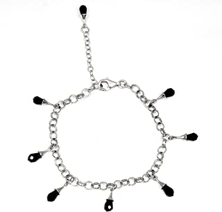 Purple Cubic Zirconia 2.00 Ct Drop 925 Sterling Silver Chain Bracelet Mother's Day Presents By Orchid Jewelry
