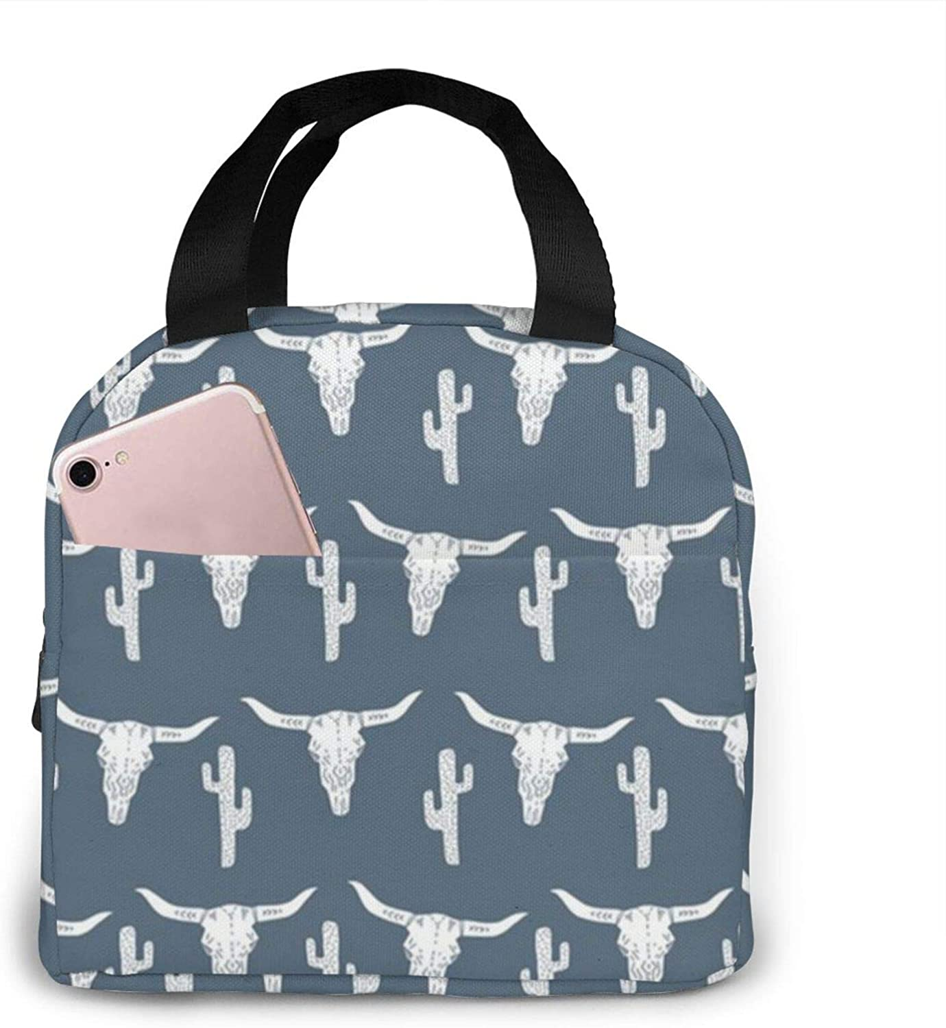 tianls Longhorn Skull Skull Cactus Blue Lunch Bag Tote Bag Lunch Bag for Women/Men Lunch Box Insulated Lunch Container