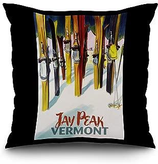 Jay Peak, Vermont - Colorful Skis (20x20 Spun Polyester Pillow, Black Border)