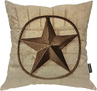 Moslion Throw Pillow Cover Texas Star 18x18 Inch Vintage Western Style Retro Traditional Pattern Wall Square Pillow Case Cushion Cover for Home Car Decorative Cotton Linen