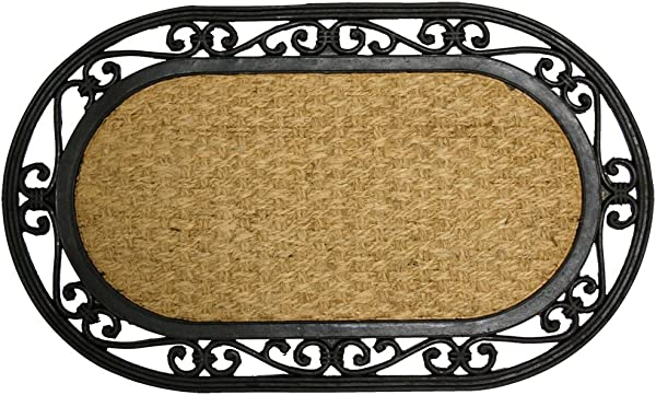 Rubber Cal Alexandria Outdoor Coco Coir Decorative Rubber Doormat 18 X 30 Inch