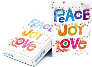 Hallmark UNICEF Boxed Christmas Cards, Peace Joy Love Lettering (12 Cards and 13 Envelopes)