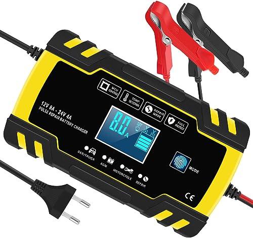 InThoor Chargeur de Batterie Intelligent 12V/24V 8A, 3 Étapes de Chargeur Batterie Mainteneur et Automatique Réparati...