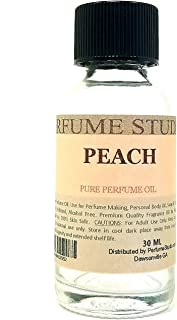 Peach Perfume Oil for Perfume Making, Personal Body Oil, Soap, Candle Making, Diffuser & Incense; Splash-On Clear Glass Bottle. Premium Quality Undiluted & Alcohol Free (1oz, Peach Fragrance Oil)