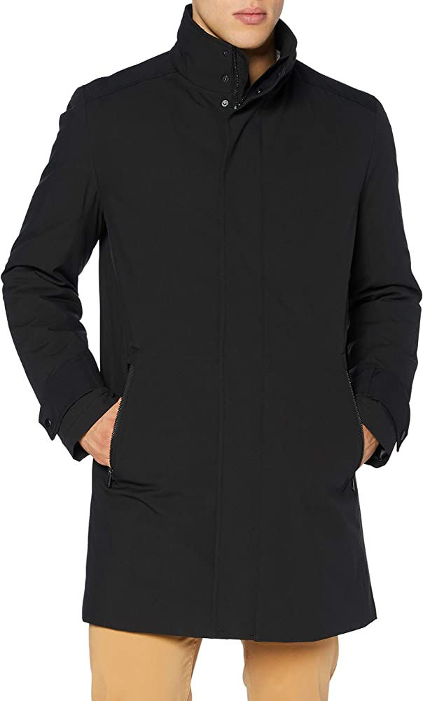 Hugo boss,cappotto slim fit in tessuto poliestere 50436307