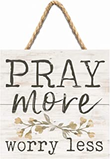 P. Graham Dunn Pray More Worry Less Whitewash 7 x 7 Inch Wood Pallet Wall Hanging Sign