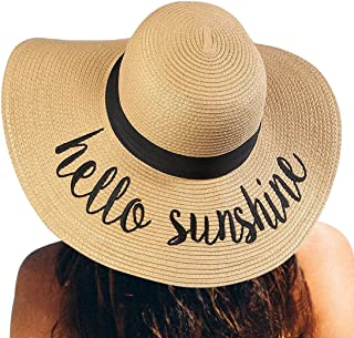 Womens Straw Hat Wide Brim Floppy Beach Cap Adjustable...