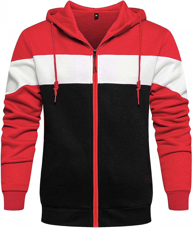 XUETON Mens Full Zip Hoodie Jacket Fleece Lined Casual Long Sleeve Hooded Sweatshirt with Pockets Winter Warm Coat
