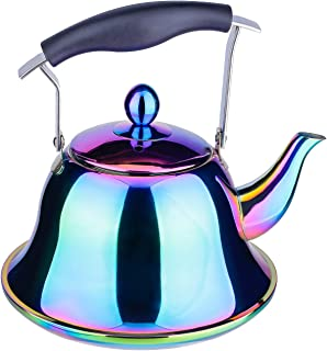 Onlycooker Whistling Tea Kettle Stainless Steel Stovetop Teakettle Sturdy Teapot for Tea Coffee Fast Boiling with Infuser Color Rainbow Mirror Finish 2 Liter / 2.1 Quart