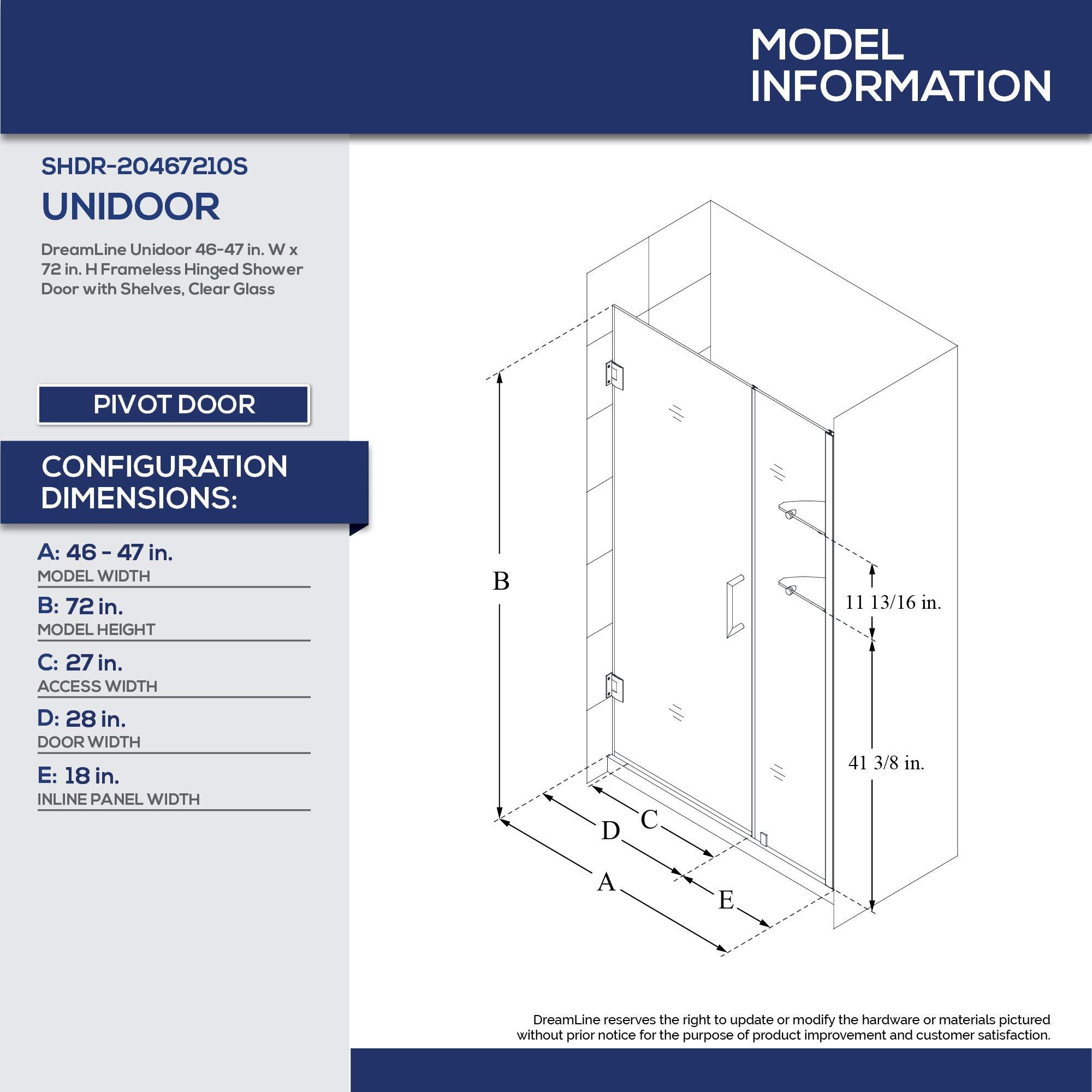 Dreamline Unidoor 46 47 In W X 72 In H Frameless Hinged Shower Door With Shelves In Brushed Nickel Shdr 20467210s 04 Amazon Com