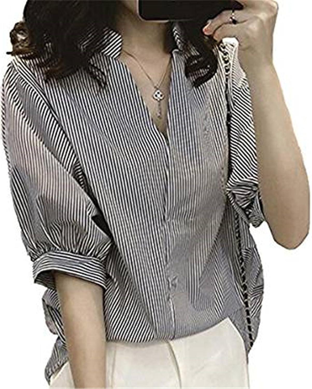 [美しいです] レディース シャツ ブラウス 春 夏 ゆったり上着 コットン 長袖フォーマル ストライプ 五分袖