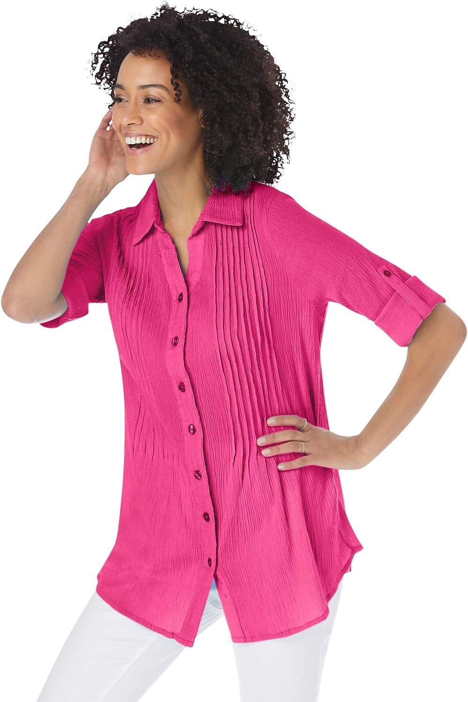 Woman Within Women's Plus Size Pintucked Button Down Gauze Shirt - 3X, Raspberry Sorbet White