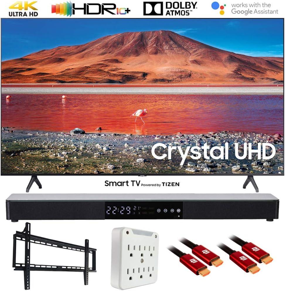 """SAMSUNG UN50TU7000 50"""" 4K Ultra HD Smart LED TV (2020) with Deco Gear Soundbar Bundle"""