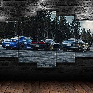 45Tdfc 5 Pezzi Stampa su Tela Niss Skyline Supra NSX JDM Auto da Corsa Poster Poster Dipinti su Tela Wall Art Home Decor 1...