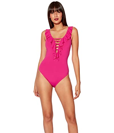 Bleu Rod Beattie Rufflicious Lace Down Over The Shoulder One-Piece with Removable Cups